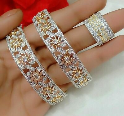 £15.13 • Buy Women's Stylish Trendy Look Charming Bangles With Ring Set For Engagement Party