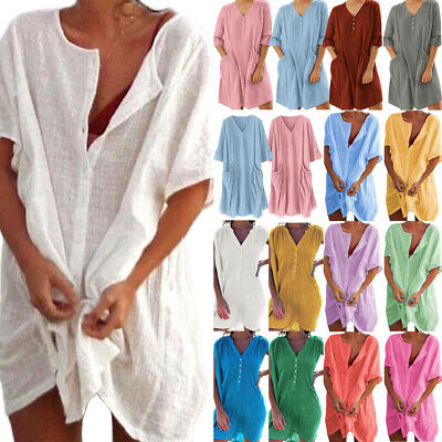 AU22.89 • Buy Plus Size Women Summer Holiday Loose Blouse T-shirt Dress Beach Tunic Tops Baggy