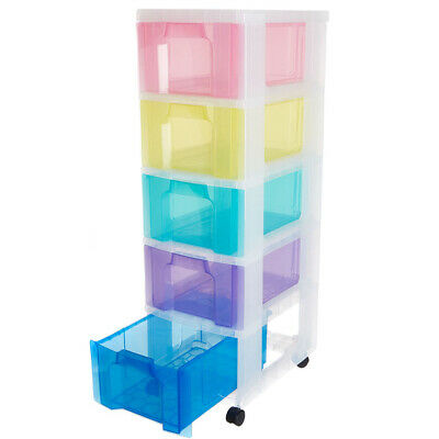 £52.41 • Buy Rainbow Plastic Storage Drawers 5 X 12L Large Boxes On Wheels Home Office Unit