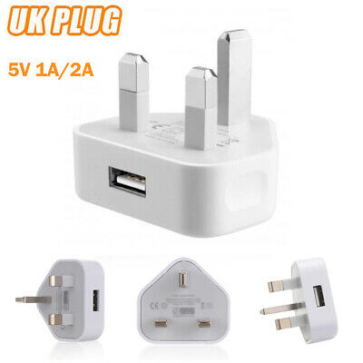 £2.69 • Buy 3 Pin UK Plug 5V 1A/2A USB Adapter Wall Charger Home Travel Charging For Phones