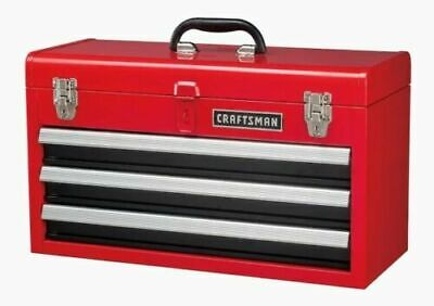 View Details CRAFTSMAN Portable Tool Box 20.5-in Ball-bearing 3-Drawer Red Steel And Lockable • 62.95$