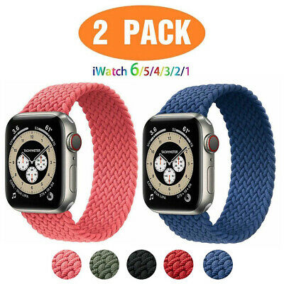 AU11.99 • Buy Braided Solo Loop Silicone Strap Band For Apple Watch Series 6 SE 5 4 3 2 2Pack
