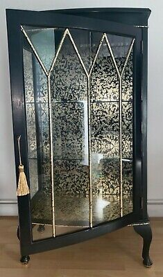 Upcycled Vintage Black And Gold Drinks/gin Display Cabinet (glass And Wood)  • 300£