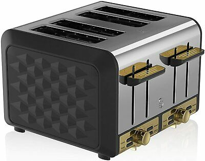 £59.95 • Buy Toaster 4 Slice Swan Gatsby Variable Electronic Browning Controls Black Gold