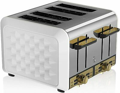 £59.95 • Buy Swan Gatsby Toaster 4 Slice Variable Electronic Browning Controls White Gold