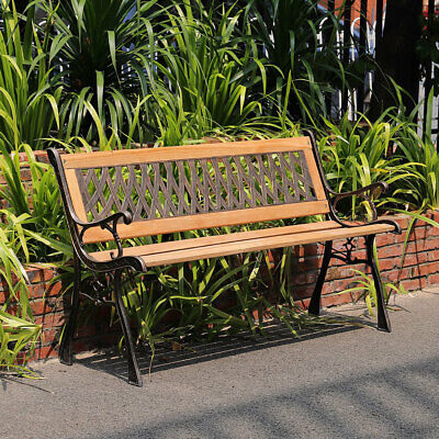 Outdoor Garden Wooden Bench Picnic Patio Seat Wrought Iron Metal 3 Seater Chair • 88.95£