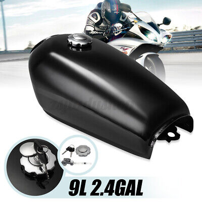 $59.99 • Buy Motorcycle 9L 2.4GAL Glossy Fuel Gas Tank Cap Switch For Honda CG125 Cafe Racer