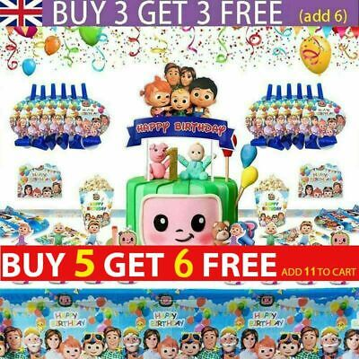 Cocomelon Kids Birthday Party Supplies Tablecloth Tableware Banner Decoration UK • 4.78£