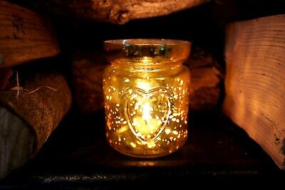 £6.49 • Buy Gold Glass Tea Light Holders With Embossed Heart Detail Tealight Candle Included
