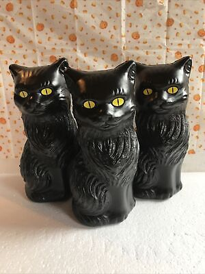 "$ CDN37.48 • Buy Blow Mold Halloween Black Cats Decoration DisplayYellow Eyes 11"" Union  Lot Of 3"