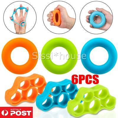 AU18.50 • Buy 6 Pack Silicone Hand Grip Strengthener Finger Exerciser Trainer Forearm AUS