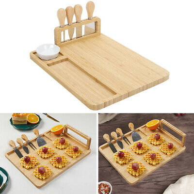 £21.95 • Buy Square Bamboo Cheese Board And Knife Set Wooden Serving Meat Platter Tray Gifts