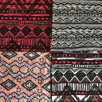 £4.49 • Buy  Viscose Jersey Fabric   Aztec Printed- Sold By The Metre