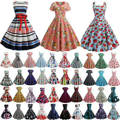 AU20.23 • Buy Womens Retro Vintage Rockabilly Evening Party Cocktail Skater Swing Dress Gown