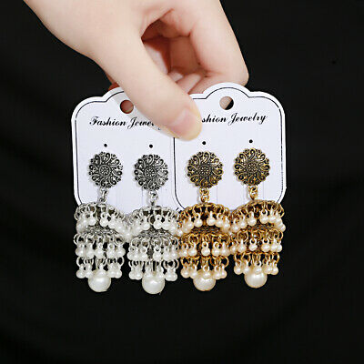 AU4.98 • Buy Vintage Indian Jhumka Earrings Jewelry Rhinestone Trendy Womens Wedding Earrings