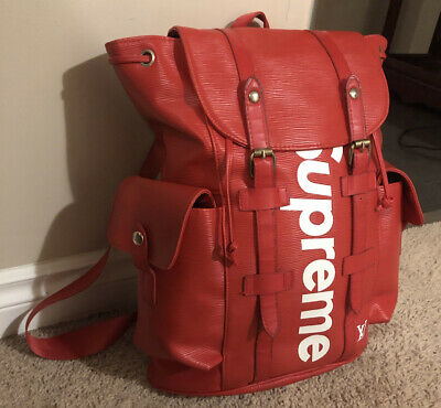 $ CDN2500 • Buy Supreme LV Backpack Red Canvas White Logos