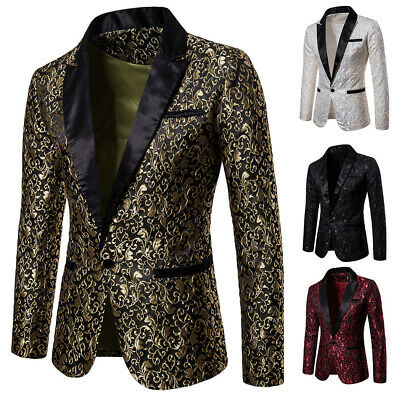 $ CDN48.92 • Buy Men Floral Embroidered Formal Suit Jacket Lapel Blazer Single Breasted Coat Gao1
