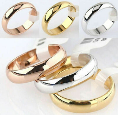 $4.48 • Buy 4mm Band Ring Polished Wedding Women Stainless Steel Size 5-13 Engagement Party