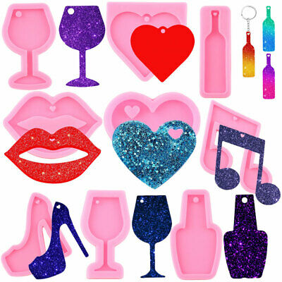 $4.66 • Buy Wine Glass Bottle Opener Keychain Silicone Molds Love Heart Pendant Resin Mould