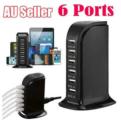 AU17.99 • Buy 6 Port Charging Station USB Desktop Charger Rapid Tower Power Adapter Wall HUB