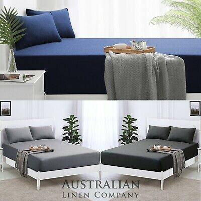 AU34 • Buy Jersey Fitted Bed Sheet Ultra Soft Solid Bed Deep Fitted Sheets Pillowcases Sets