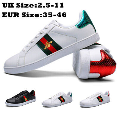 $ CDN36.51 • Buy Women Flat White Designer Bee Casual Mens Lace Up Summer Trainers Shoes Size Uk