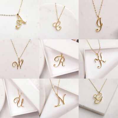 $2.61 • Buy Women Ladies Alphabet Pendant Necklace Initial Letters A-Z Chain Jewelry Gift