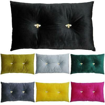 £11.49 • Buy Velvet Filled Cushions Bumble Diamante Boudoir Rectangle Cushion By Paoletti