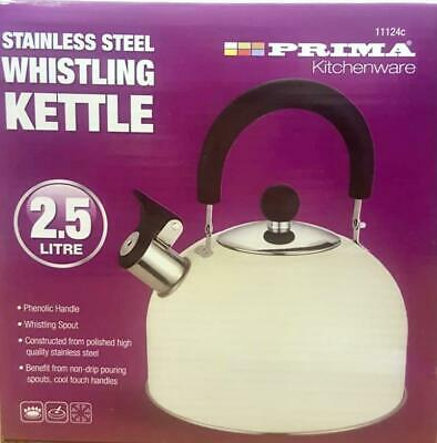 £7.99 • Buy Cream Colour Whistling Kettle 2.5L Stainless Steel    , For All Types Of Stoves