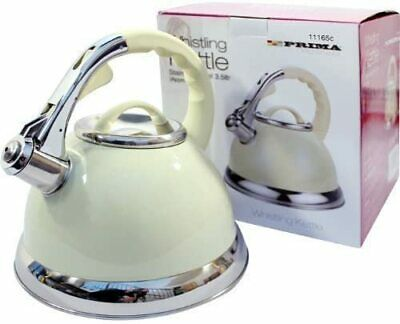 £16.99 • Buy Cream Colour  Whistling Kettle Cordless Stove Top 3.5 Litre Stainless Steel