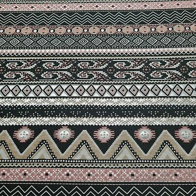 £7.48 • Buy Viscose Jersey Fabric Silver Shiny Aztec Printed Grey Melange Sold By The Metre