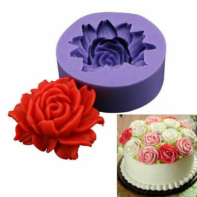£2.99 • Buy 3D Rose Flower Silicone Fondant Cake Topper Mold Chocolate Candy Baking Mould