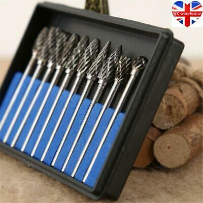 £8.99 • Buy 10Pcs Tungsten Carbide Rotary Burr Set Drill Die Grinder Shank Carving Bits