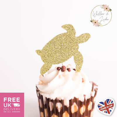 £3.95 • Buy Turtle Cupcake Toppers Set Of 6, Glitter Card, 14 Colours