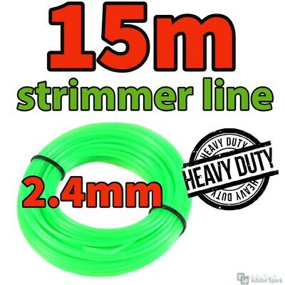 HEAVY DUTY 15M X 2.4mm Strimmer Line Wire String Cord Nylon Petrol TRIMMER Metre • 3.99£