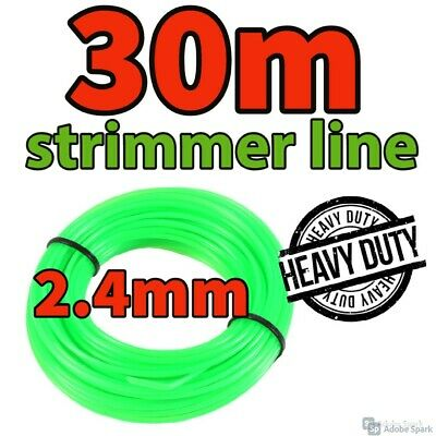 Heavy Duty 30M X 2.4mm Strimmer Line Wire String Cord Nylon Petrol TRIMMER Metre • 6.99£