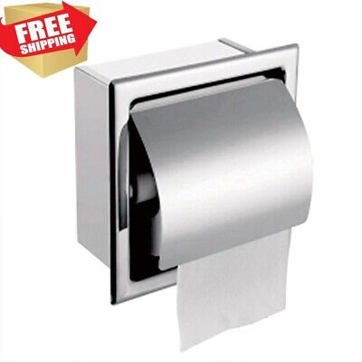 AU25.73 • Buy Chrome Paper Holder Toilet Bathroom Stainless Steel Tissue Roll Recessed Storage
