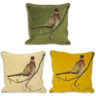 £11.49 • Buy Hunter Velvet Cushion Covers Pheasant Embroidered Cushions Cover 18  X 18