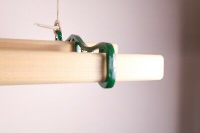 £71.50 • Buy Ceiling Hanging Clothes Dryer Green Cast Iron Ends Pulley System 4 Pinewood Lath