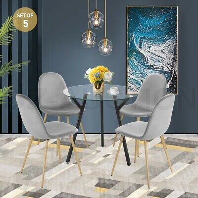 AU249.95 • Buy Modern Dining Table Chairs 5 Set Clear Glass Velvet Round Kitchen Furniture Grey