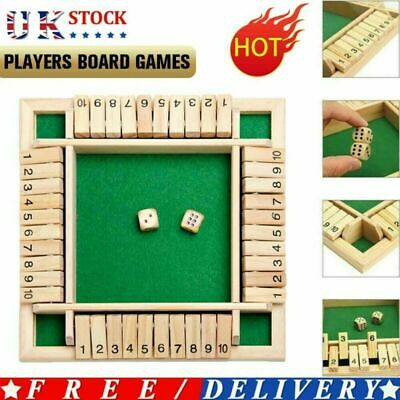 £6.99 • Buy Wooden 4 Players Shut The Box Dice Game Tabletop Family Games Kids Learning Toy