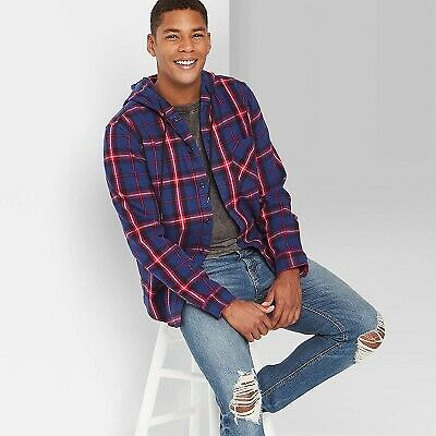$14.99 • Buy Men's Plaid Hooded Flannel Long Sleeve Button-Down Shirt - Original Use
