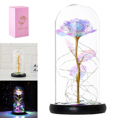 AU23.99 • Buy LED Galaxy Rose In Glass Beauty And The Beast Light Dome Gift Valentine's Day