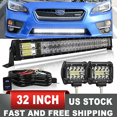 $75.18 • Buy For 15-19 Subaru WRX STi Bumper Fog Lamp+ Lower Grille 32  LED Light Bar +Wiring