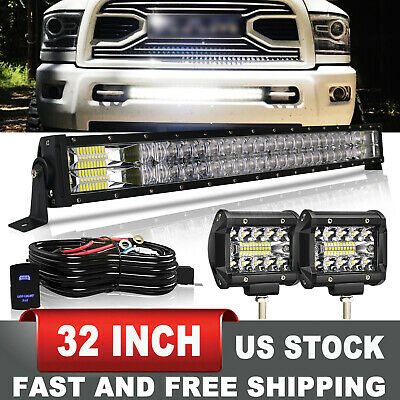 $75.18 • Buy For 03-18 Dodge Ram 2500 3500 Fog Lamp+ Front Bumper 32  LED Light Bar +Wiring