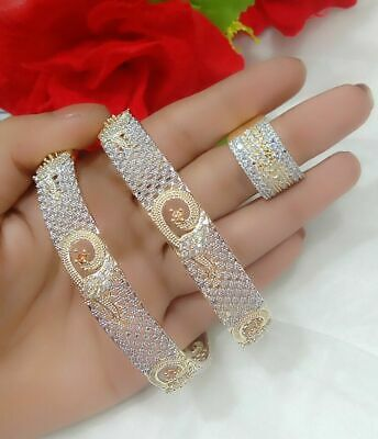 £16.76 • Buy Indian Traditional Wear Bangles With Matching Finger Ring Wedding Party Jewelry