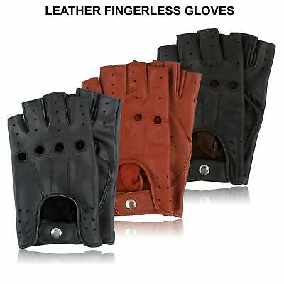 £6.49 • Buy Retro Real Leather Men Fingerless Driving Cycle Gloves Cycling Unlined Chauffeur