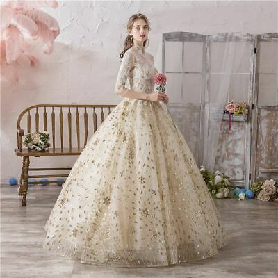 $ CDN210.04 • Buy Princess Gowns Wedding Dresses Gold Champagne Illusion High Neck Lace Embroidery