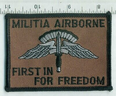 $4 • Buy Patch - AMERICAN MILITIA AIRBORNE  FIRST IN FOR FREEDOM - Merrowed Edge On Twill