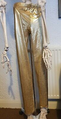 Fancy Dress Gold Leggings 80's Metallic Disco • 4.99£